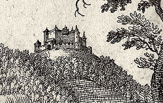 Höhingen Castle - Detail of the castle from the engraving by Matthäus Merian