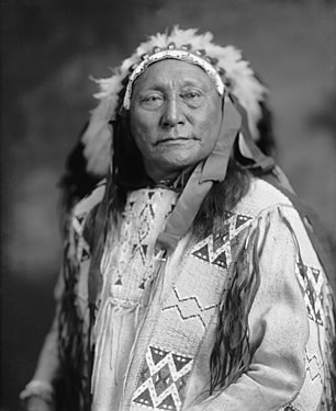Black-and-white portrait photograph from the early 20th century of Hollow Horn Bear in traditional garb near the end of his life