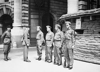 Home Guard (United Kingdom) - Home Guard post at Admiralty Arch in central London, 21 June 1940.