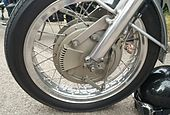 Grimeca ventilated drum brake on a Honda RCB endurance race bike