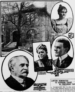 Horace Harmon Lurton - Justice Lurton, bottom left, with his home in Nashville, his wife, center, and children
