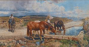 Enrico Coleman - Horses drinking from a stone trough