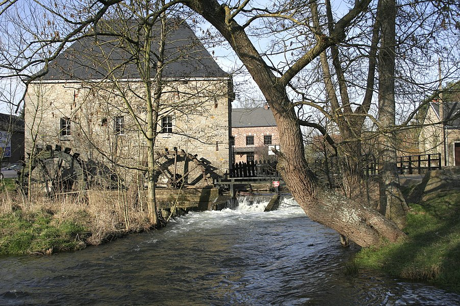 Hotton  (Belgium),  the old Faber watermill (1729) and the Ourthe River.