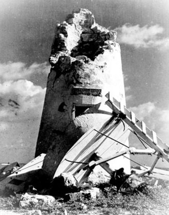 Howland Island - Earhart Light, pictured here showing damage it sustained during World War II, was named for Amelia Earhart during the late 1930s.