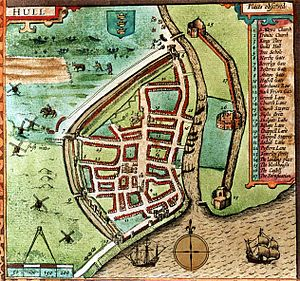 Fortifications of Kingston upon Hull - John Speed's map of 1611. Hessle (Hassle), Myton (Mitton), North (Northe), Beverley and Posterne gates are shown, as well as the castle