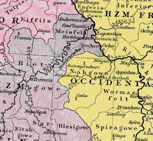"""Nahegau - The Nahegau (""""Nahgowe"""") next to the Hundesrucha c. 1000"""