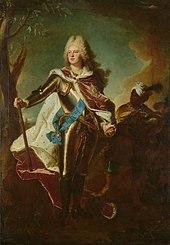 Friedrich August von Sachsen als Kurprinz im Harnisch und mit einem Mohr von Hyacinthe Rigaud, 1715, Gemäldegalerie Alte Meister, Dresden (Quelle: Wikimedia)