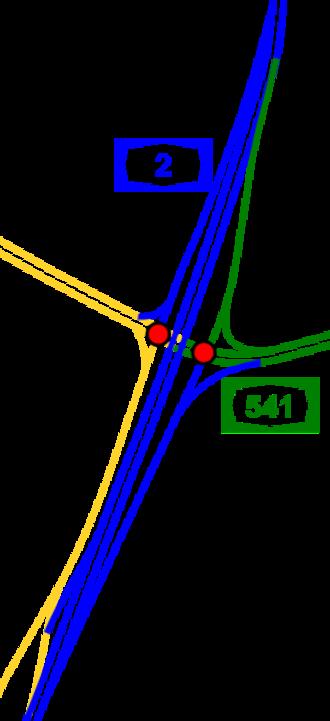Highway 2 (Israel) - Image: I Ljunction hasira