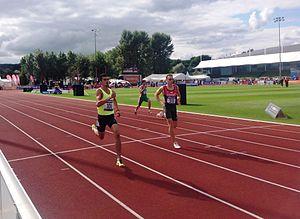2014 IPC Athletics European Championships - The final of the men's T12 400m sprint. Germany's Thomas Ulbricht wins gold, here challenged by Elmir Jabrayilov