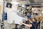 ISS-48 Takuya Onishi and Kate Rubins prepare the NREP in the Kibo lab.jpg