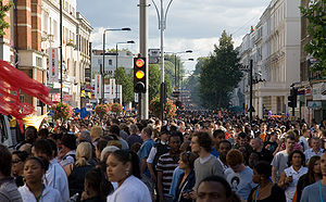 Notting Hill Carnival - Crowds of around one million people participate in the Carnival each year.