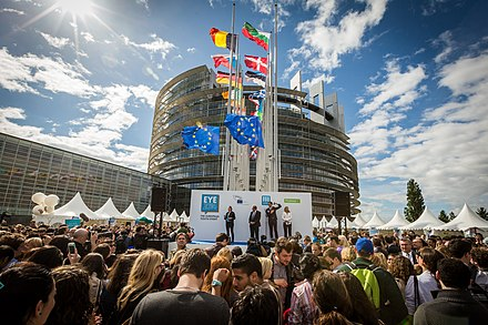 The European Parliament: Austria is one of the 28 EU members. Inauguration EYE2014 Parlement europeen Strasbourg 9 mai 2014.jpg