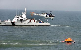 Indian Coast Guard - Indian Coast Guard ship and helicopter during the Search and Rescue Workshop and Exercise (SAREX), 2014