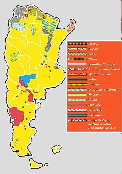 Distribución de los distintos tipos de aborígenes en Argentina .