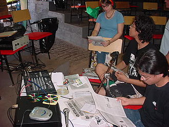 Radical media - Indymedia collective at Mato Grosso Federal University in Cuiabá, Brazil hosting a free radio broadcast in 2004.