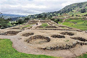 Cañari - After the Incan conquest, the Incas settled in the Cañari capital, which became an important regional center. At the back can be seen the Temple of the Sun of the Incan period.