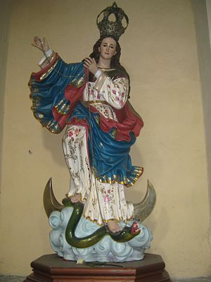 Virgin of Quito - Our Lady of the Assumption of Popayán by Bernardo de Legarda in Popayán, Colombia, is a larger and somewhat modified version of the Virgin of Quito