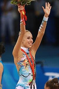 Inna Zhukova of Belarus winning silver medal, Beijing 2008.jpg