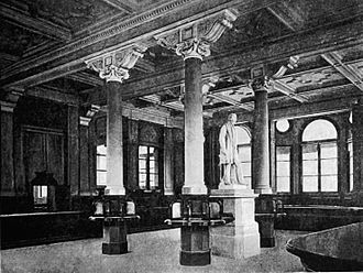 Victoria Square House - Interior of General Post Office, photo taken circa 1894 shortly after opening. The statue, of Sir Rowland Hill, is now in Aston Royal Mail Delivery Office, the city's main postal depot.