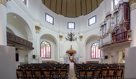 A Calvinist church in Semarang, Indonesia. Protestantism in Indonesia is largely a result of Calvinist and Lutheran missionary efforts during the colonial period. Interior of Blenduk Church, Semarang, 2014-06-19 2.jpg