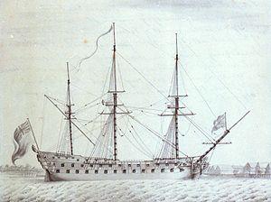 HMS Invincible (1747) - Image: Invincible 74 canons integre a la Royal Navy