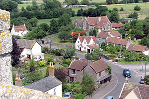 Iron Acton - Iron Acton Primary School (above the orange wires), seen from the tower of the church