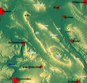 Duinger Berg - Overview map with the Duinger Berg just NE of centre