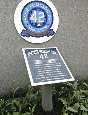 Retired number - A plaque honoring Jackie Robinson in Monument Park at old Yankee Stadium.