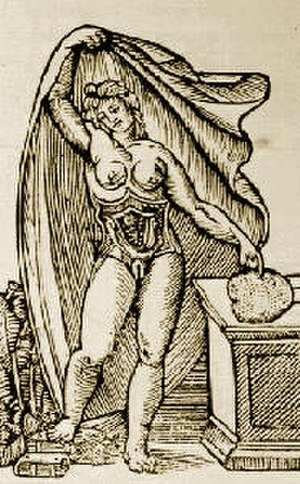 Jacopo Berengario da Carpi - Anatomical plate by Jacopo Berengario da Carpi depicting a pregnant woman with opened uterus