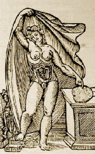 Jacopo Berengario da Carpi - Anatomical plate by Jacopo Berengario da Carpi depicting a pregnant woman with opened uterus