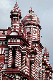 The candy-striped Jami Ul Alfar mosque in the Pettah area, one of the oldest mosques in Colombo Sri Lanka