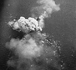Japanese heavy cruiser Nachi is hit by U.S. carrier aircraft off Manila, Philippines, on 29 October 1944.jpg