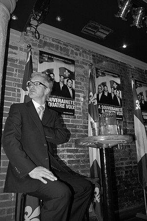 Jean-Martin Aussant - Aussant at a Quebec sovereignty meeting, 2010