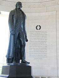 Rudulph Evans's statue of Thomas Jefferson with excerpts from the Declaration of Independence to the right Jefferson Memorial with Declaration preamble.jpg