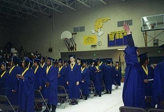 """Jefferson High School (Portland, Oregon) - Jefferson High School graduation demonstrates an ethnic diversity which is rare for Portland, which has been referred to as """"the whitest major city"""" in the United States."""