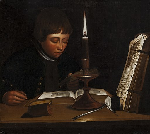 Jens Juel - Boy Reading at Artificial Light - KMS7458 - Statens Museum for Kunst