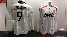 e97ee38601e Ronaldo s Inter Milan away jersey (left) and A.C. Milan away jersey (right)  in the San Siro museum. He played for Inter from 1997 to 2002
