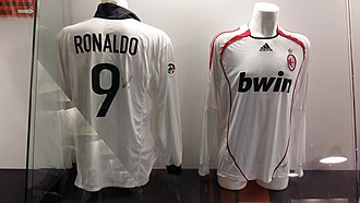 Ronaldo (Brazilian footballer) - Ronaldo's Inter Milan away jersey (left) and A.C. Milan away jersey (right) in the San Siro museum. He played for Inter from 1997 to 2002, and A.C. Milan from 2007 to 2008.