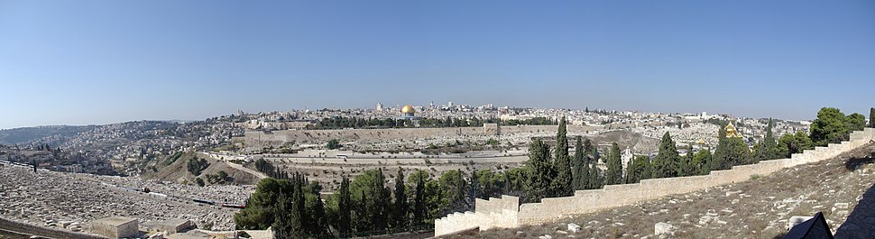Panorama of the Temple Mount, seen from the Mount of Olives