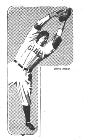Jimmy Archer - Newspaper photo showing Archer making a catch while playing with the Cubs in 1915.
