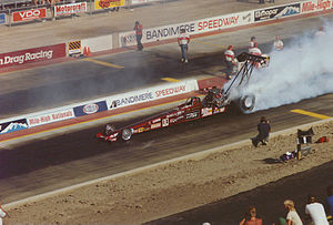 Joe Amato (dragster driver) - Joe Amato dragster doing a burnout at the Mile High Nationals in the Denver, Colorado area.