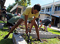 Joel Greenoff, a member of the Clontarf Foundation at Casuarina Senior College, digs in a garden at the school in Casuarina, Australia, May 30, 2013 130530-M-AL626-1679.jpg