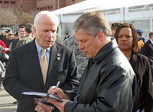 John McCain presidential campaign, 2008 - Senator John McCain interviewed at Fort Sam Houston, Texas prior to the ribbon cutting ceremony of The Center for the Intrepid, a $50 million physical rehabilitation facility designed for servicemembers wounded in Operations Iraqi Freedom and Enduring Freedom. January 29, 2007.