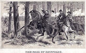 """John F. Reynolds - """"The Fall of Reynolds"""" – drawing of Reynolds' death at Gettysburg"""
