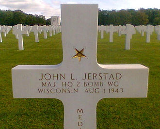 Ardennes American Cemetery and Memorial - Grave marker for Medal of Honor recipient John L. Jerstad