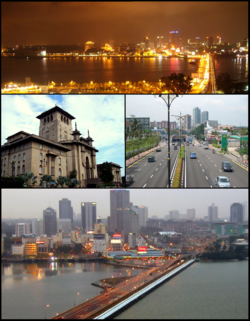Clockwise from top: Night view of Johor Bahru, Sultan Ibrahim Building, Tebrau Highway & Johor–Singapore Causeway