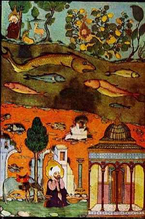 Uzair - Jonah trying to hide his nakedness in the midst of bushes; Jeremiah in the wilderness (top left); Uzair awakened after the destruction of Jerusalem. Zubdat-al Tawarikh (see text for details).