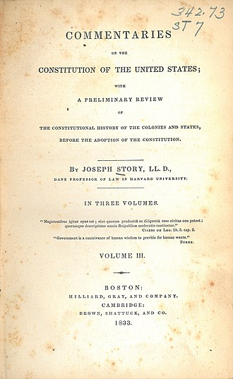 Commentaries on the Constitution of the United States - The title pages of Volumes II and III of the first edition of Story's Commentaries (1833)