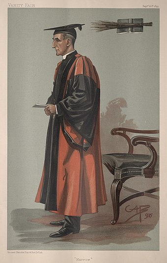 "Caricature of the Rev. Joseph Wood DD, Headmaster at Harrow (1898-1910) by George Algernon Fothergill (""GAF"") Caption reads: ""Harrow"" Joseph Wood, Vanity Fair, 1899-09-21.jpg"