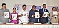 Jual Oram along with other dignitaries releasing souvenir, at the National Seminar on 'Law relating to Tribes in India', organised by the University College of Law, at Osmania University, in Hyderabad on January 18, 2016.jpg